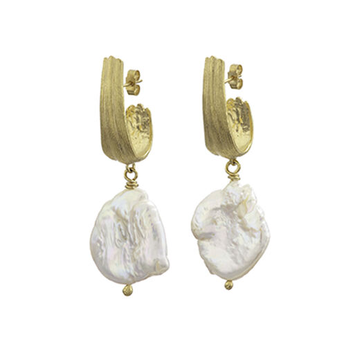 Inner Island Strata Large Earrings With Pearl Gold