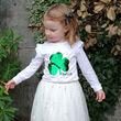 Traditional Craft Kids White 2 Way Sequin Shamrock Long Sleeve Kids T-Shirt   1/2