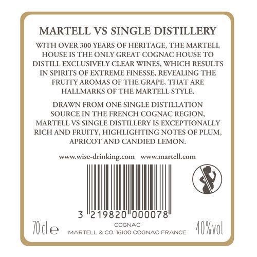 Martell Cognac France VS Single Distillery  0.7ltr  V.S 70cl