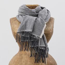 Avoca Cashmere Wool Blend Sandymount Scarf in Grey & Cream