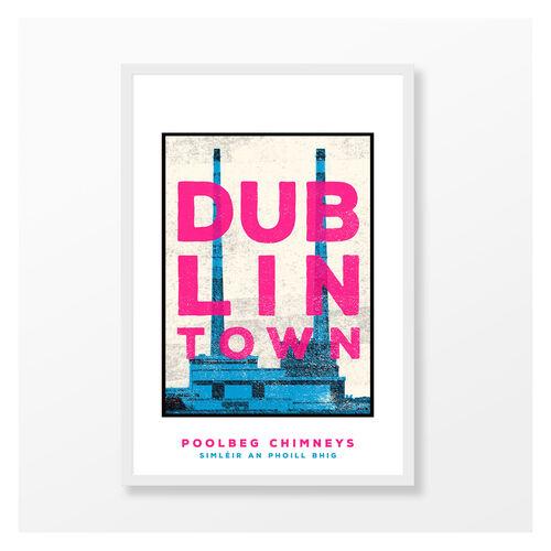 Jando  Dublin Rown Poolbeg Chimneys Large Frame A3