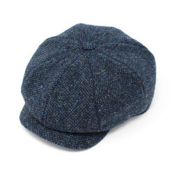 Hanna Hats JP Cap Tweed Navy & Aqua Salt & Pepper