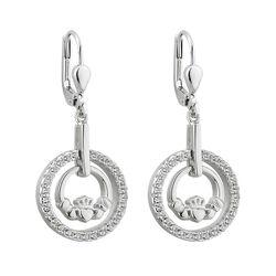 Solvar  S/S Claddagh Round Drop Earrings