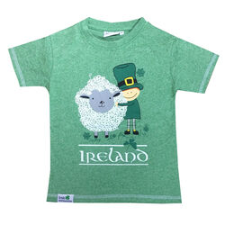 Irish Memories Green Grindle Kids T-Shirt With Leprechaun Front Print