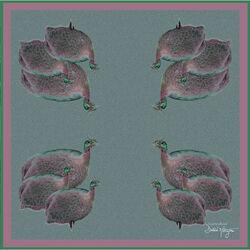 Debbie Millington Guineas Fowl Birds Silk Scarf  136cm