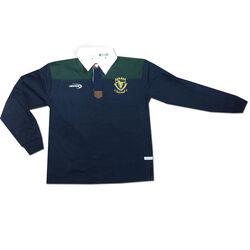 Irish Memories Navy Green Kids Long Sleeve Rugby Top