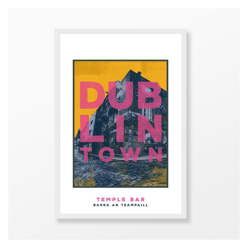 Jando  Dublin Town Temple Bar Large Frame A3