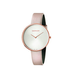 Calvin Klein Full Moon Leather Strap Watch Ladies Pink