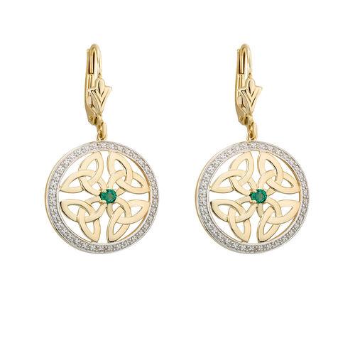 Solvar  14K Emerald Round Four Trinity Earrings