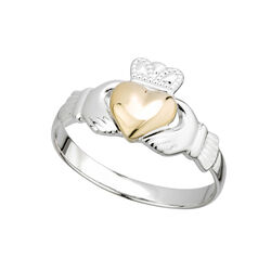 Solvar  S/S & 10K Gold Heart Ladies Claddagh