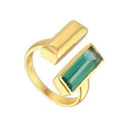 Juvi Designs Manhattan Bar Ring Gold V Green Tourmaline 6