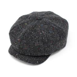 Hanna Hats JP Cap Tweed Dark Grey Charcoal Fleck Salt & Pepper
