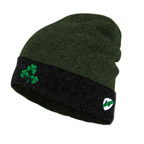 Lansdowne Adults Black Green Knitted Turn Up Hat