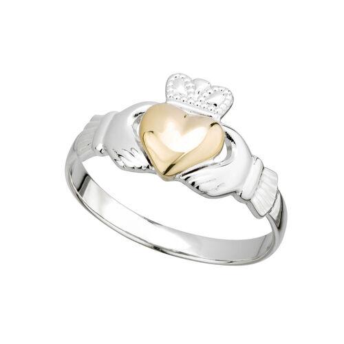 Solvar S/S & 10K Gold Heart Ladies Claddagh