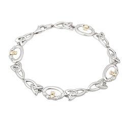 Solvar Silver 10K Gold Claddagh Bracelet