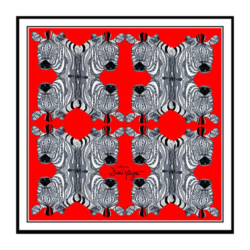 Debbie Millington Red Zebras Large Silk Wrap