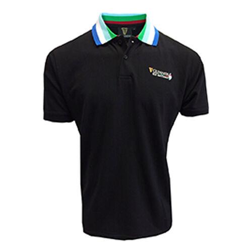 Guinness Black 6 Nations Stripe Collar Short Sleeve Polo  L