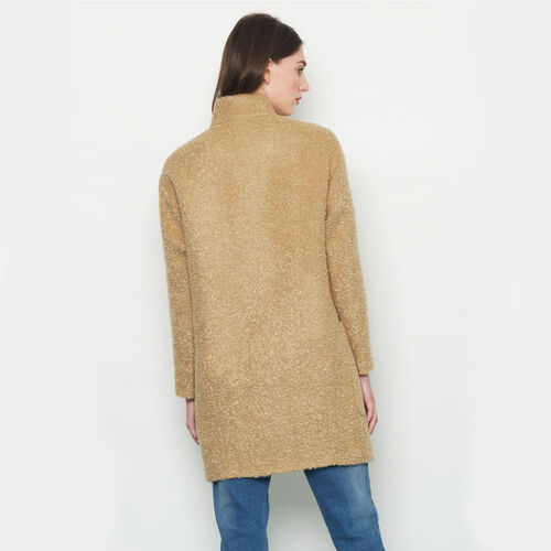 Avoca Mohair Wool Blend Boyfriend Coat in Camel - Large