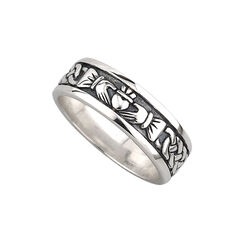 Solvar  S/S Gents Oxidised Claddagh Band