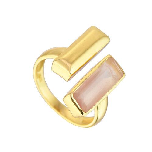 Juvi Designs Manhattan Bar Ring Silver Rose Quartz  8